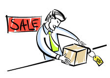Vendeur avec des marchandises Photos stock