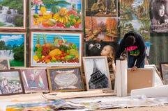 Vendeur d'affiche Photographie stock