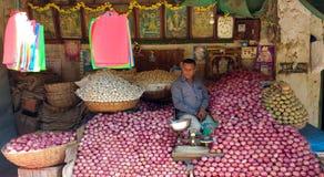 Vendeur d'oignon sur le marché Image libre de droits