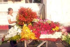 Vendeur de fleur de Myanmar image libre de droits