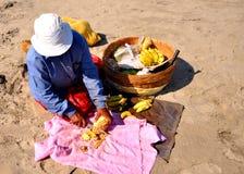 Vendeur de fruit à la plage de goa Photographie stock