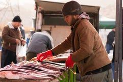 Vendeur de poissons en Irak Image stock
