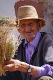 Vendeur médical plus âgé d'herbe de N sur la route des montagnes d'atlas au Maroc Images libres de droits