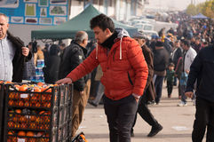Vendeur orange en Irak Photographie stock