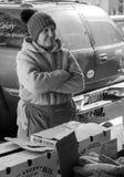 Vendeur plus âgé féminin au marché de ville de Roanoke, Roanoke, la Virginie, Etats-Unis Photos stock