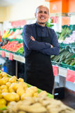 Vendeur posant près de l'affichage avec la pomme de terre Photographie stock libre de droits