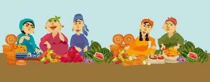 Vendeuses de femme de caricature sur le marché de nourriture, Photo libre de droits