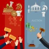 Vendez aux enchères les bannières verticales vendant des antiquités et des immobiliers illustration de vecteur