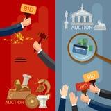 Vendez aux enchères les mains de bannières et les antiquités de achat d'argent et les immobiliers illustration libre de droits