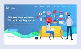 Vendi universalmente senza andare via di casa la pagina del sito Web illustrazione di stock