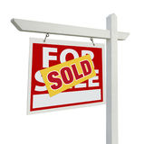 Vendido para casa para o sinal dos bens imobiliários da venda no branco Imagem de Stock