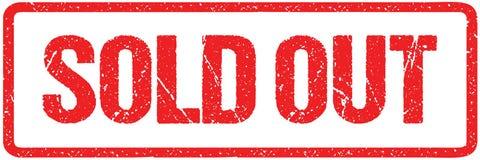 Vendido para fora das letras ásperas assine a tipografia isoladas no branco Carimbo de borracha vermelho do Grunge da tinta ilustração stock