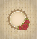 Vendimia con el medallón y las flores florales stock de ilustración