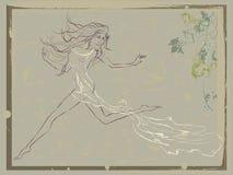 Vendimia corriente hermosa de la mujer Ilustración del Vector
