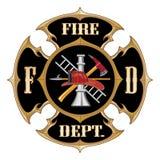 Vendimia de la cruz maltesa del cuerpo de bomberos stock de ilustración