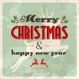 Vendimia de la Feliz Navidad y de la Feliz Año Nuevo ilustración del vector
