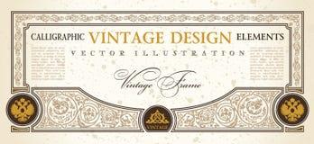 Vendimia del diseño del modelo de la cupón del certificado del vector Fotos de archivo