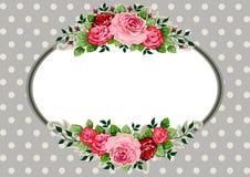 Vendimia oval retra de las rosas ilustración del vector