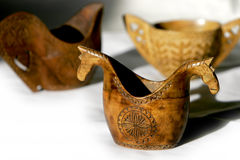 Vendimia, tazones de fuente Afghani Mano-Tallados de los pastores Fotografía de archivo libre de regalías