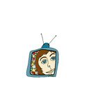 Vendimia TV Stock de ilustración