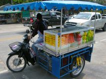 Vending cart. One of hundreds of food conveyances plying their trade on the streets of Pattaya, Thailand Royalty Free Stock Image
