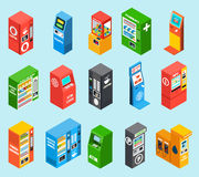 Vending Dispensing Machines Isometric Icons Collection Stock Image
