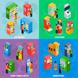 Vending Games Machines Isometric Icons Square. Food and drinks vending machines with payment terminals automated self service 4 isometric icons square  vector Royalty Free Stock Images