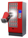 Vending machine with cyborg hand and beverage in c Stock Photography