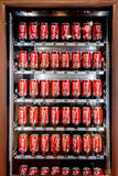 Vending machine full of coca-cola cans in Moscow, Russia Royalty Free Stock Image