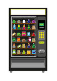 Vending Machine Illustration in Black color. An illustration vector and jpg of an automated Vending Machine filled with food and beverages royalty free illustration