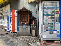 Vending machine and jinja made by wood Royalty Free Stock Images