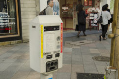 Vending Machine meter of car parking beside traffic road for peo Stock Image
