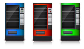 Vending Machine with shelves, green, red and blue coloor. Stock Photo