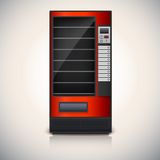 Vending Machine with shelves, red coloor. Stock Photos