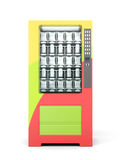 Vending machine with snacks and drinks packaging. 3d rendering. Vending machine with snacks and drinks packaging. Front view. 3d rendering Stock Images