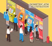 Vending Machines ATM Isometric vector illustration