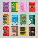 Vending machines collcetion. Merchandise concept with automatic selling various snacks water coffee and crisp food. Vector pictures. Illustration of retail vector illustration