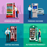 Vending Machines Concept Icons Set. Vending machine concept icons set with parking and coffee machines flat  vector illustration Stock Images