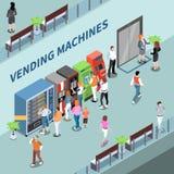Vending Machines Consumers Isometric Composition. Consumers near vending machines in lobby of business center isometric composition vector illustration stock illustration