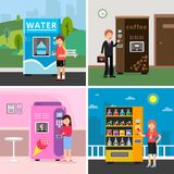 Vending machines food. People buying various snacks drink coffee crackers and crisp from automat vector concept pictures stock illustration