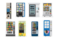 Vending machines set. Juice and ice cream and more Stock Image