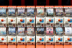 Vending machines of toy. MRUGAME, KAGAWA, JAPAN - MARCH 13, 2015: Vending machines of toy of Japanese anime for children Royalty Free Stock Photo