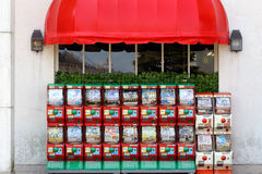 Vending machines of toy. MRUGAME, KAGAWA, JAPAN - MARCH 13, 2015: Vending machines of toy of Japanese anime for children Stock Photo