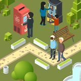Vending machines urban park. Breakfast area business city people buying fast food snacks soda drinks ice cream vector. Isometric illustrations. Vending machine stock illustration