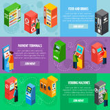 Vending Payment Machines Isometric Banners Set Royalty Free Stock Photo
