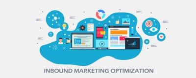 Vendita in arrivo - ottimizzazione di crescita - miscela di vendita - pubblicità digitale - concetto contento di seo Insegna pian illustrazione di stock