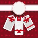 Vendita bianca degli autoadesivi di prezzi di Natale dell'emblema Fotografia Stock Libera da Diritti