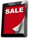 Vendita - computer della compressa con le pagine Immagine Stock Libera da Diritti