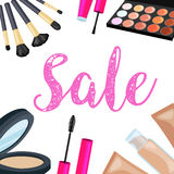 Vendita dei cosmetici Insiemi dei cosmetici su fondo isolato Immagine Stock