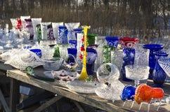 Vendita dei prodotti di cristallo dal bordo della strada Fotografia Stock Libera da Diritti
